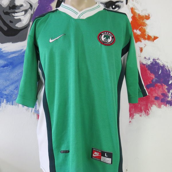 137d01b27c5 Vintage Nigeria 1998-00 home shirt Nike soccer jersey size L World Cup 98 (